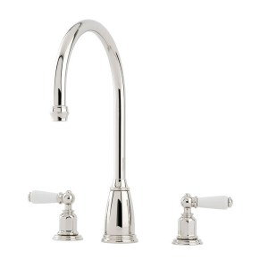 Perrin & Rowe Athenian 3 Hole Sink Mixer Lever Handles Pewter