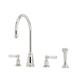 Perrin & Rowe Athenian Lever 4 Hole Sink Mixer & Rinse Chrome
