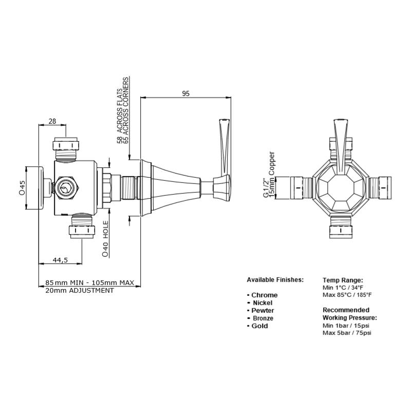 Perrin & Rowe Deco Concealed 1-Inlet, 3-Outlet Shower Diverter, Lever