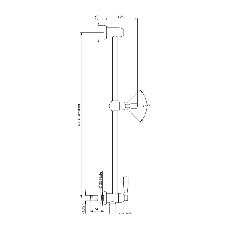 Perrin & Rowe Sliding Rail with Lever Shut-Off Nickel