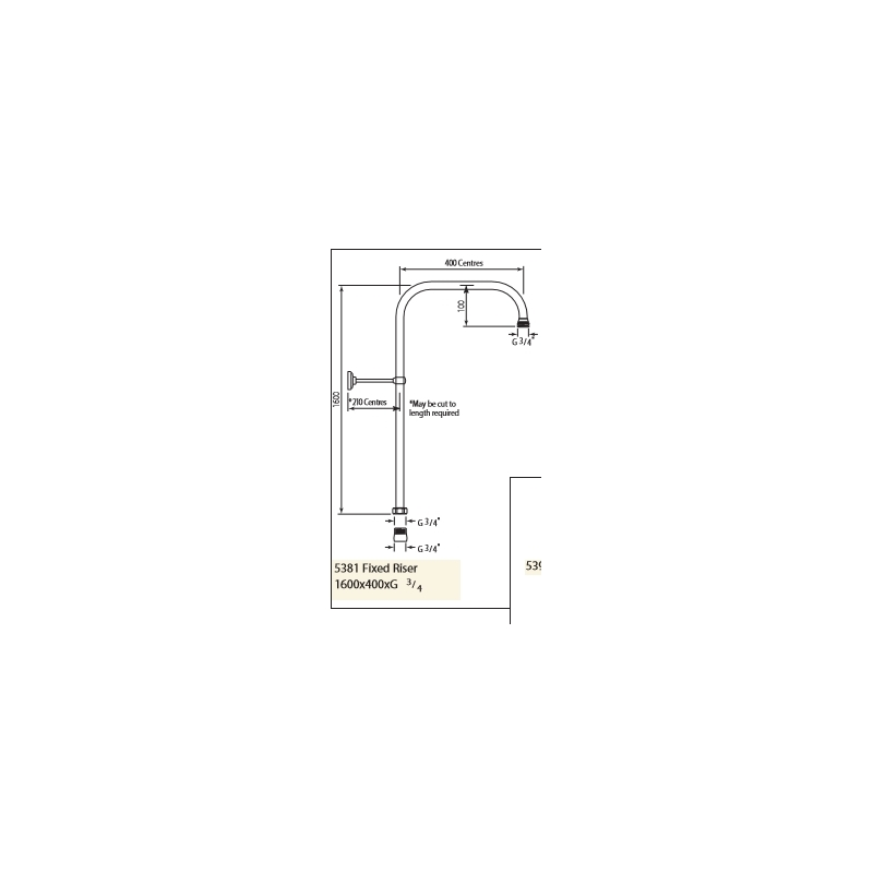 Perrin & Rowe Fixed Riser 1600 x 400mm Nickel