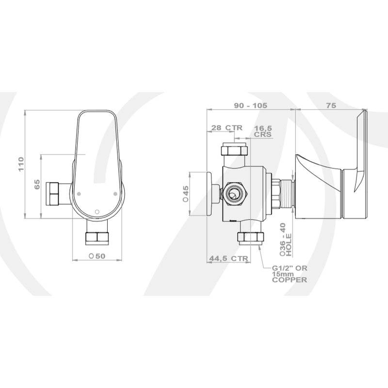 Perrin & Rowe Hoxton 3 Way Diverter with Shut-Off Pewter