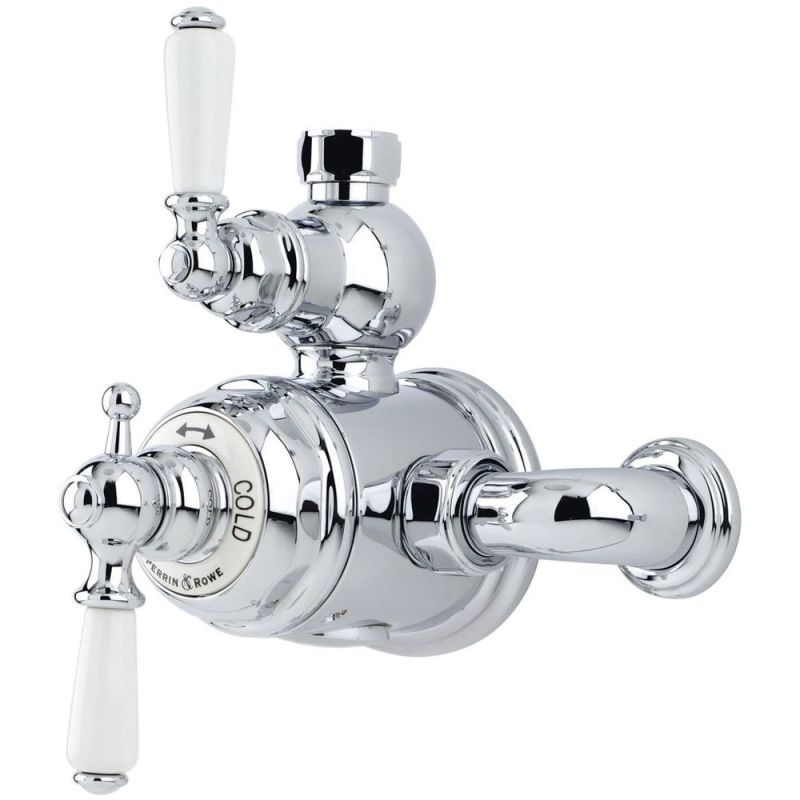 Perrin & Rowe Exposed Thermostatic Shower with Levers Pewter