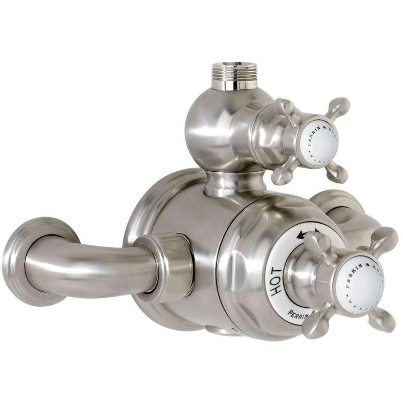 Perrin & Rowe Traditional Crosstop Exposed Shower Mixer Nickel