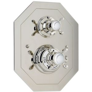 Perrin & Rowe Traditional Crosstop Concealed Shower Mixer Pewter