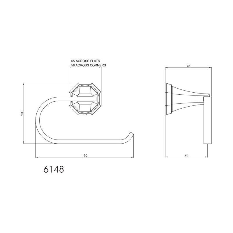Perrin & Rowe Deco Toilet Roll Holder