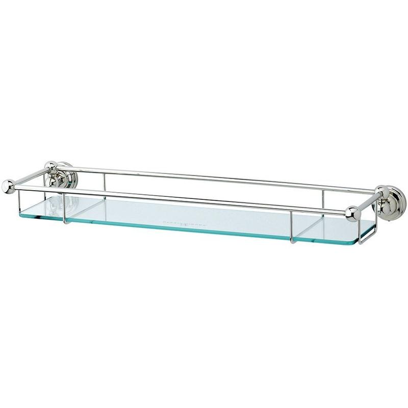 "Perrin & Rowe 20"" Glass Shelf Pewter"