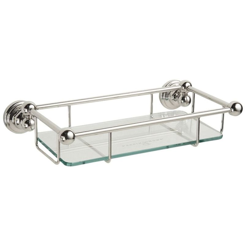 "Perrin & Rowe 10"" Glass Shelf Nickel"