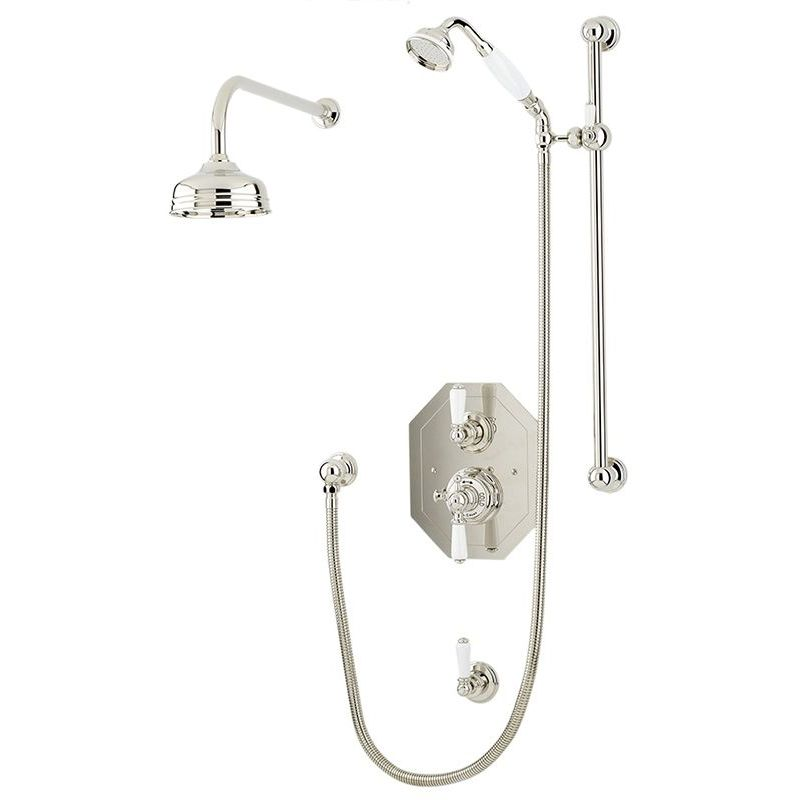 """Perrin & Rowe Traditional Shower Set 2 with 12"""" Rose"""