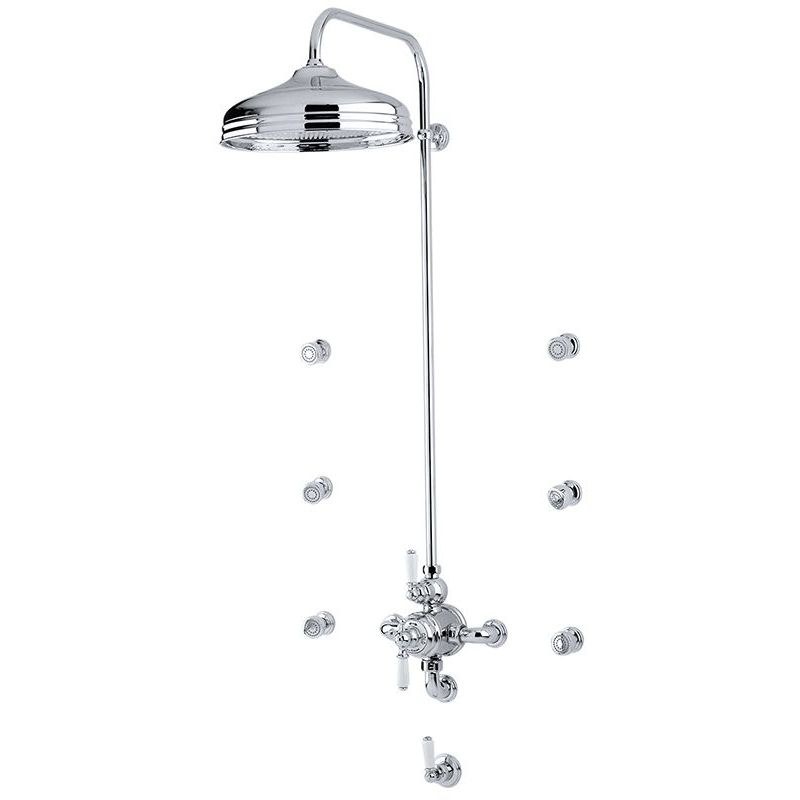 """Perrin & Rowe Traditional Shower Set 4 with 12"""" Rose"""