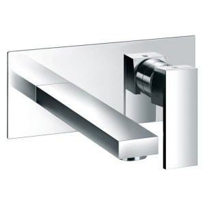 Pura Bloque 2 Hole Wall Mounted Basin Mixer with Clicker Waste