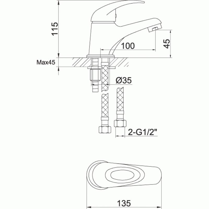 Pura Dv8 Eco Small Single Lever Basin Mixer