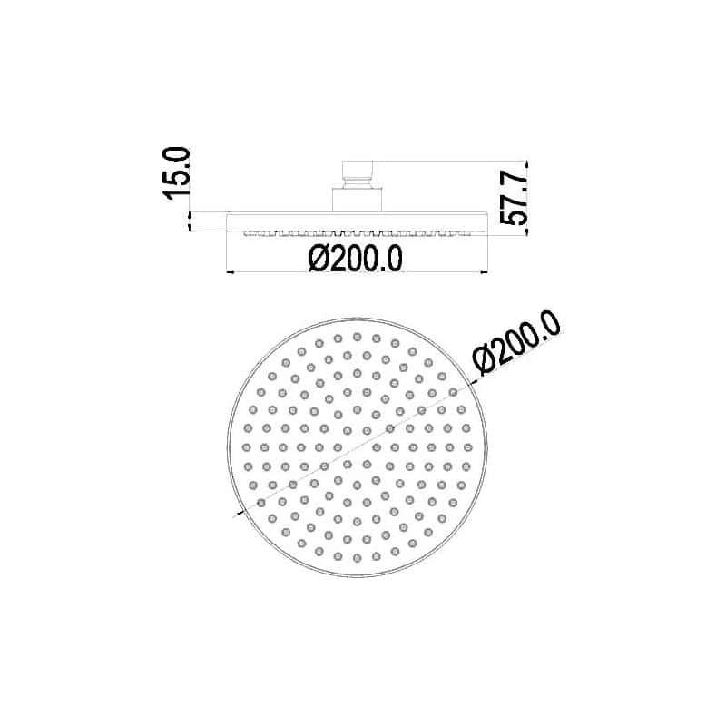 Pura Design ABS Round 200mm Shower Head