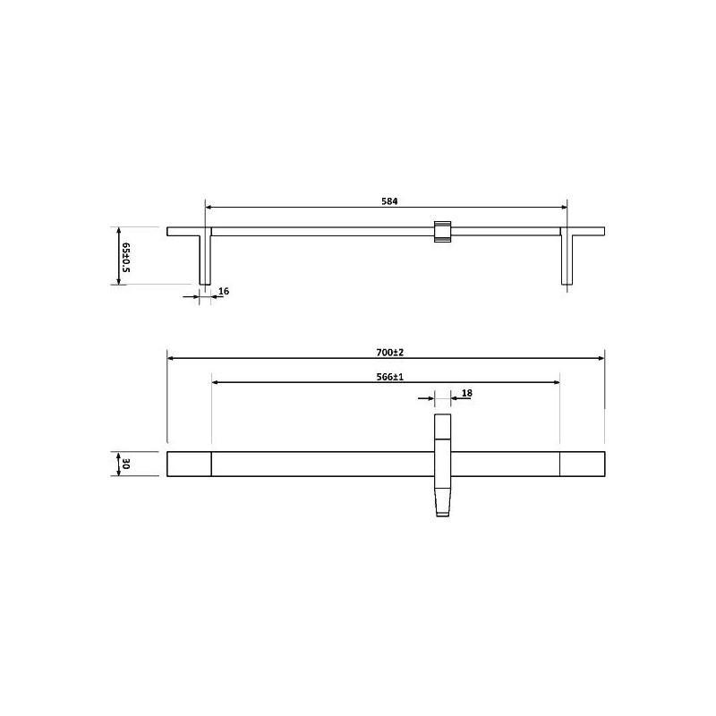 Pura Str8 Riser Rail Kit with Square Handset & Hose