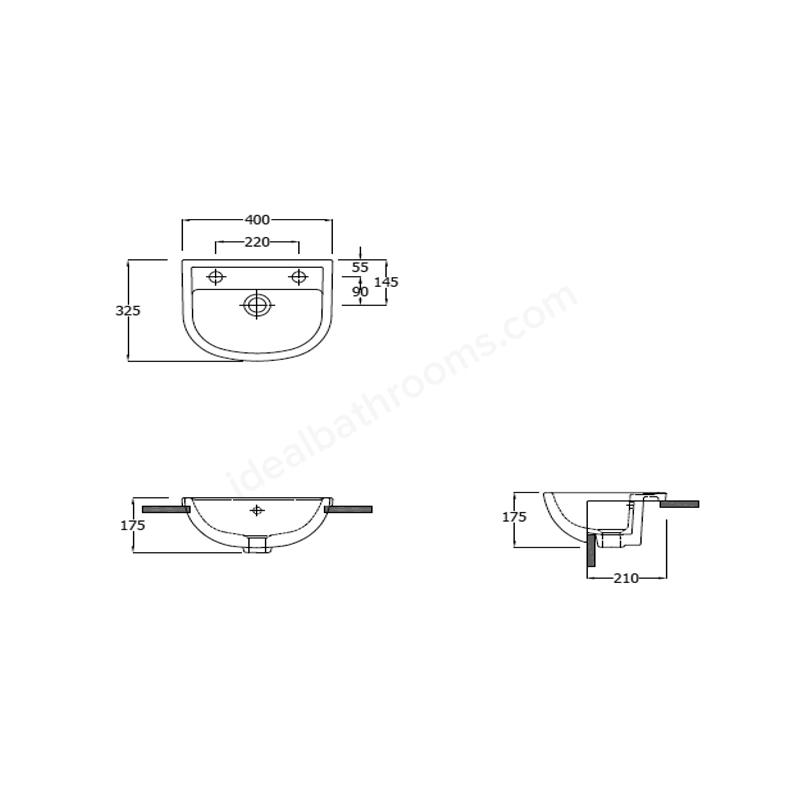 RAK Compact 40cm Semi Recessed Basin 1 Taphole Left