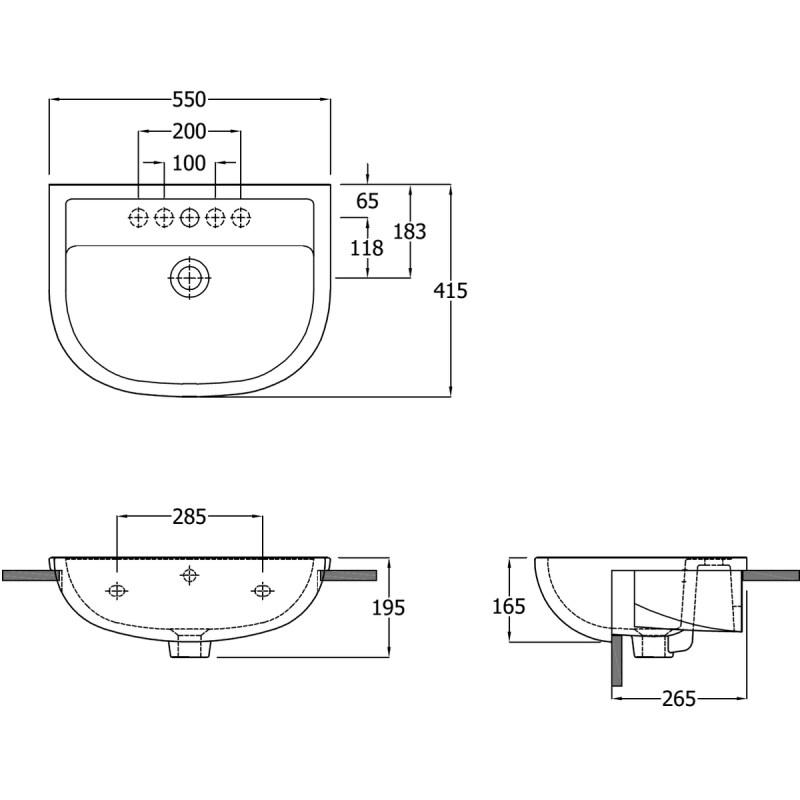 RAK Compact 55cm Semi Recessed Basin 1 Taphole