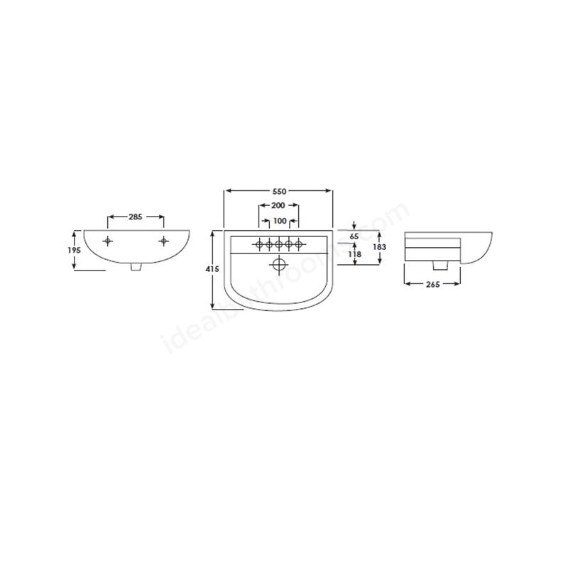 RAK Compact 55cm Semi Recessed Basin 2 Tapholes