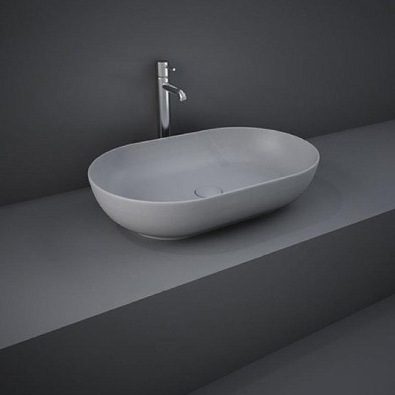 RAK Feeling 55cm Oval Countertop Wash Basin Matt Grey
