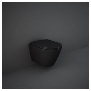 RAK Feeling Rimless Wall Hung Pan & Soft Close Seat Matt Black