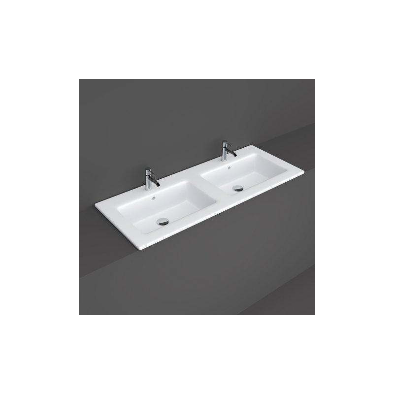 RAK Joy Drop-In Washbasin 121x46cm 2 Tap Hole