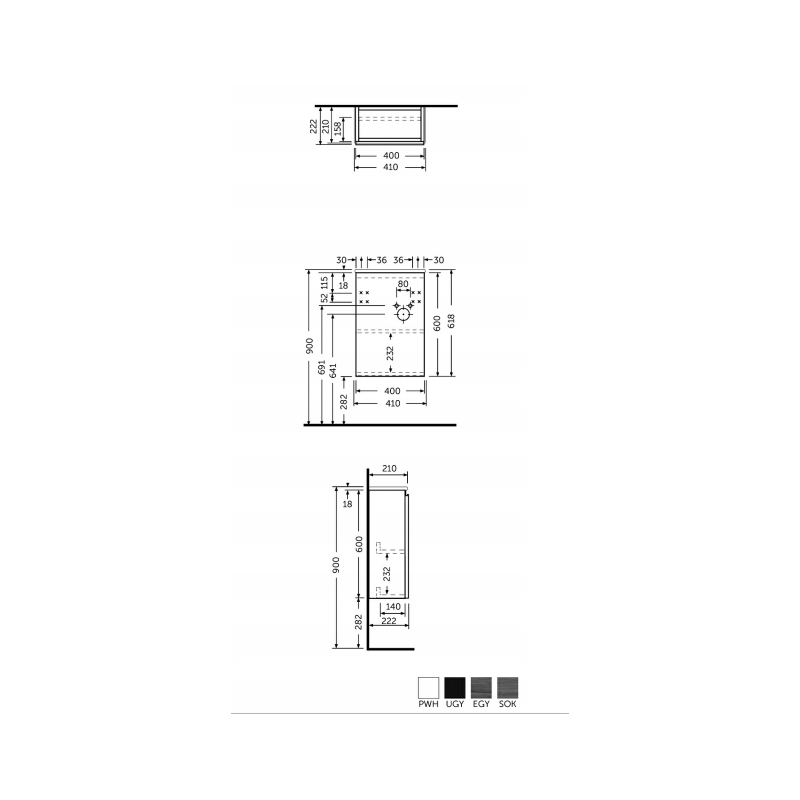 RAK Joy Wall Hung Vanity Unit 40cm Urban Grey