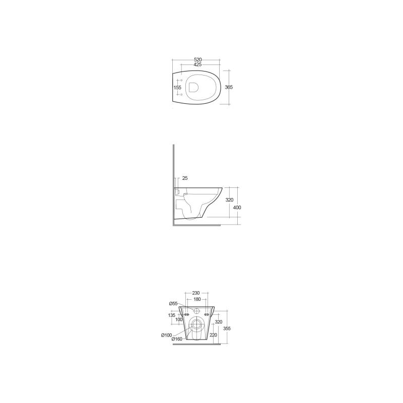 RAK Morning Rimless Wall Hung Pan with Soft Close Seat