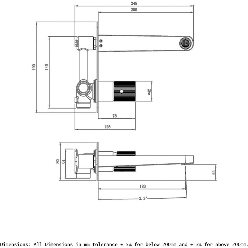 RAK Amalfi Wall Basin Mixer with Back Plate Chrome