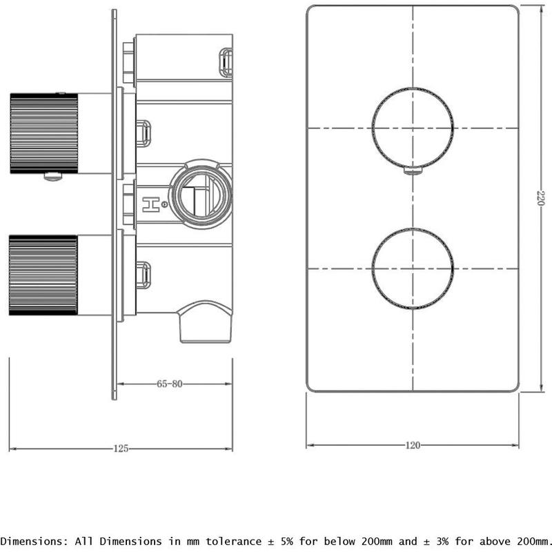 RAK Amalfi Single Outlet, 2 Handle Thermostatic Valve Chrome
