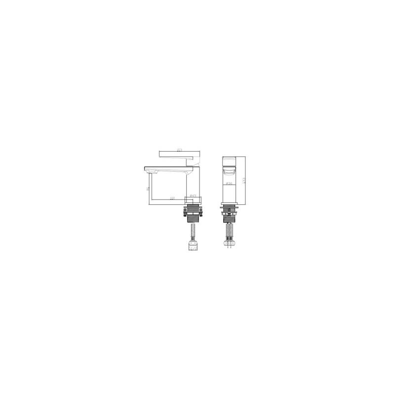 RAK Blade Mini Mono Basin Mixer with Clicker Waste