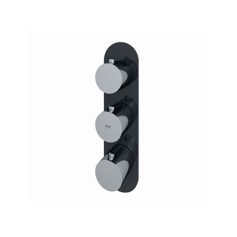RAK Feeling Round Dual Outlet Thermostatic Shower Valve Black