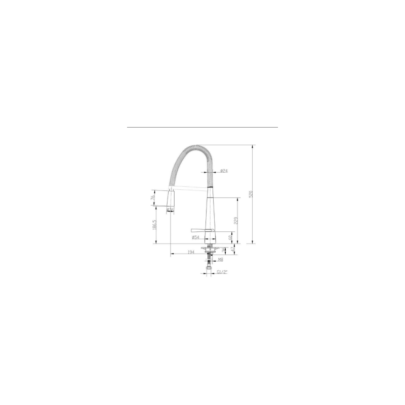 RAK Oslo Pull Out Side Lever Kitchen Sink Mixer