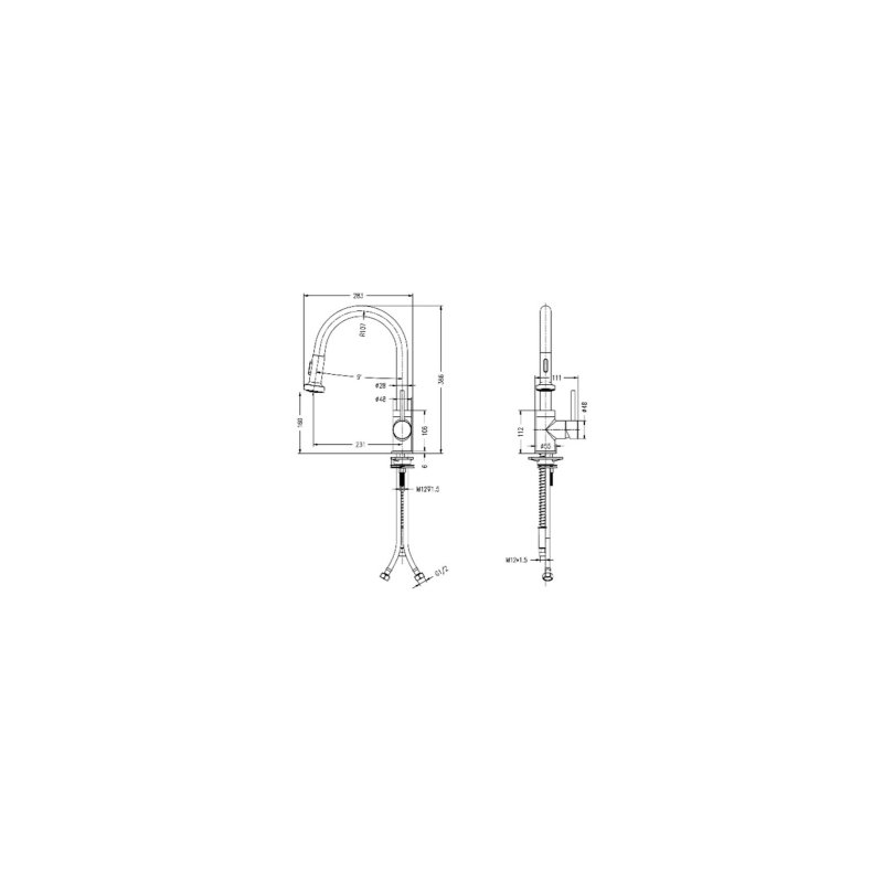 RAK Madrid Pull Out Side Lever Kitchen Sink Mixer