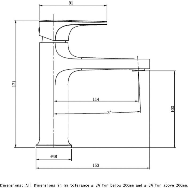 RAK Portofino Standard Basin Mixer Brushed Nickel