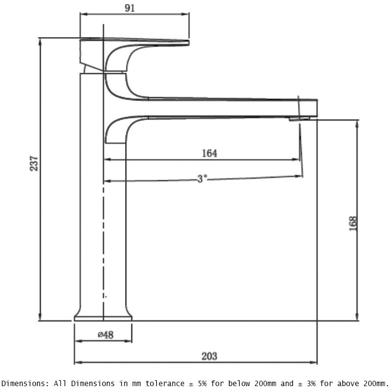 RAK Portofino Mid Height Basin Mixer Chrome