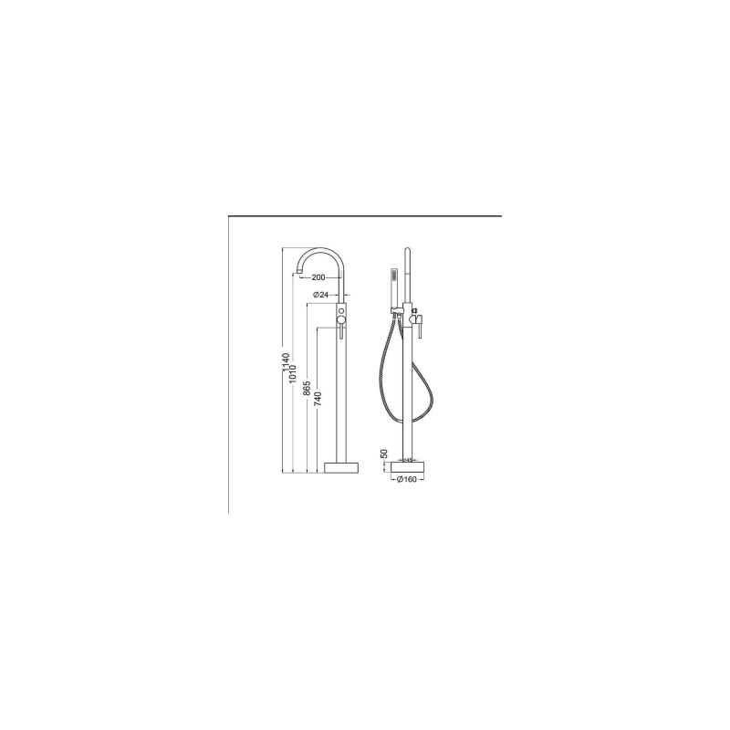 RAK Prima Tech Free Standing Bath Shower Mixer