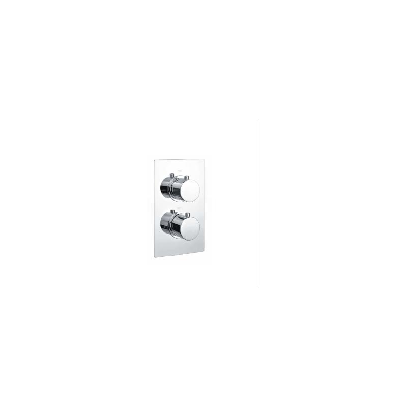 RAK Round Dual Outlet, 2 Handle Thermostatic Shower Valve Chrome