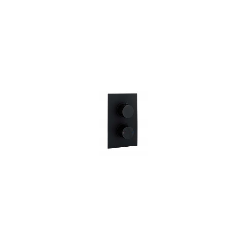 RAK Round Dual Outlet, 2 Handle Thermostatic Shower Valve Black