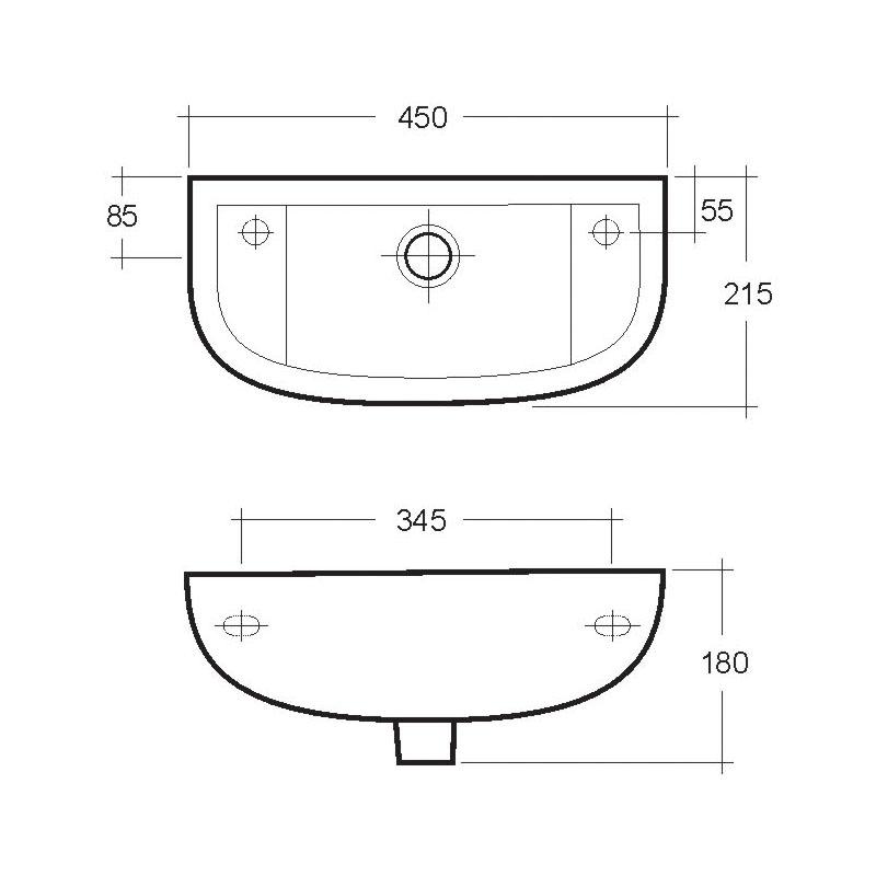 RAK Compact Slim 450mm Cloak Basin 2 Tap Hole