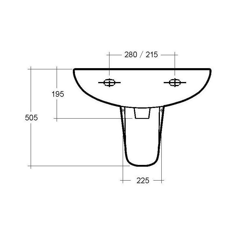 RAK Compact 1 Hole 550mm Basin with Semi-Pedestal