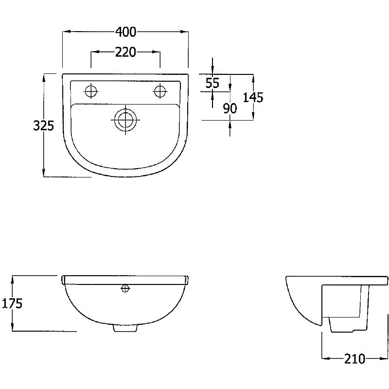 RAK Compact Slimline 400mm Semi-Recess Basin 1 Tap Hole RH