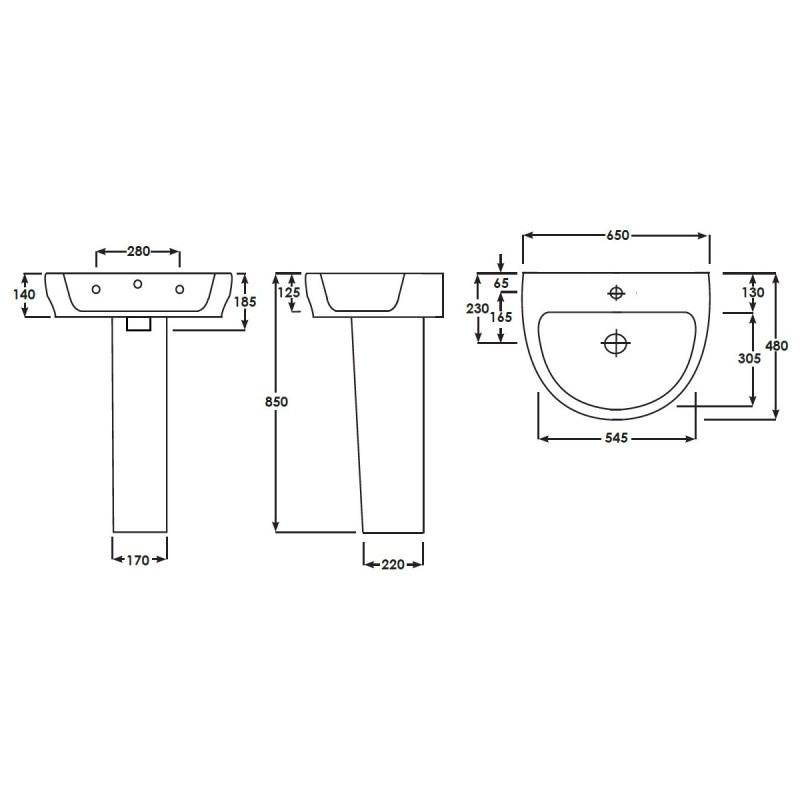 RAK Harmony 650mm Basin with Full Pedestal