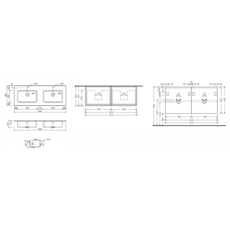 RAK Joy Pure White 1210mm Wall Hung Vanity Unit & Basin