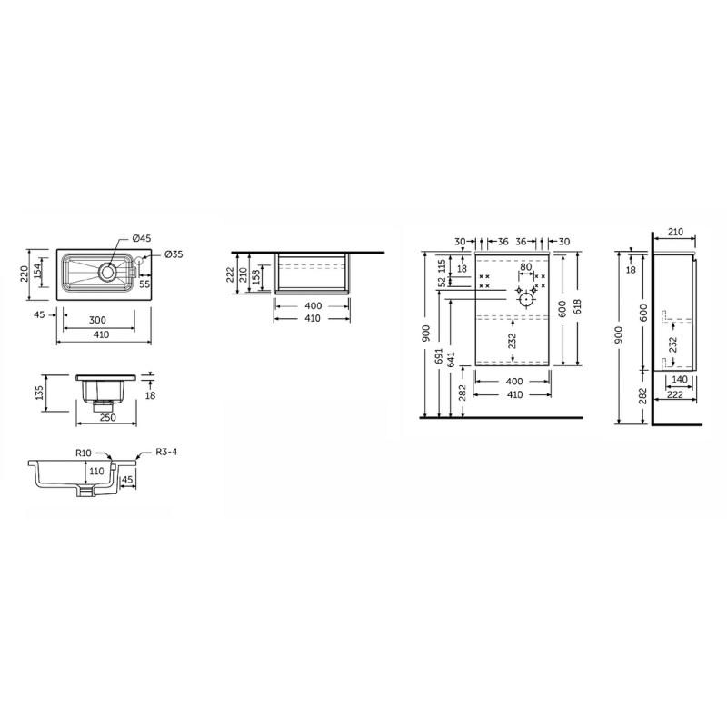 RAK Joy Urban Grey 410mm Wall Hung Cloakroom Unit & Basin