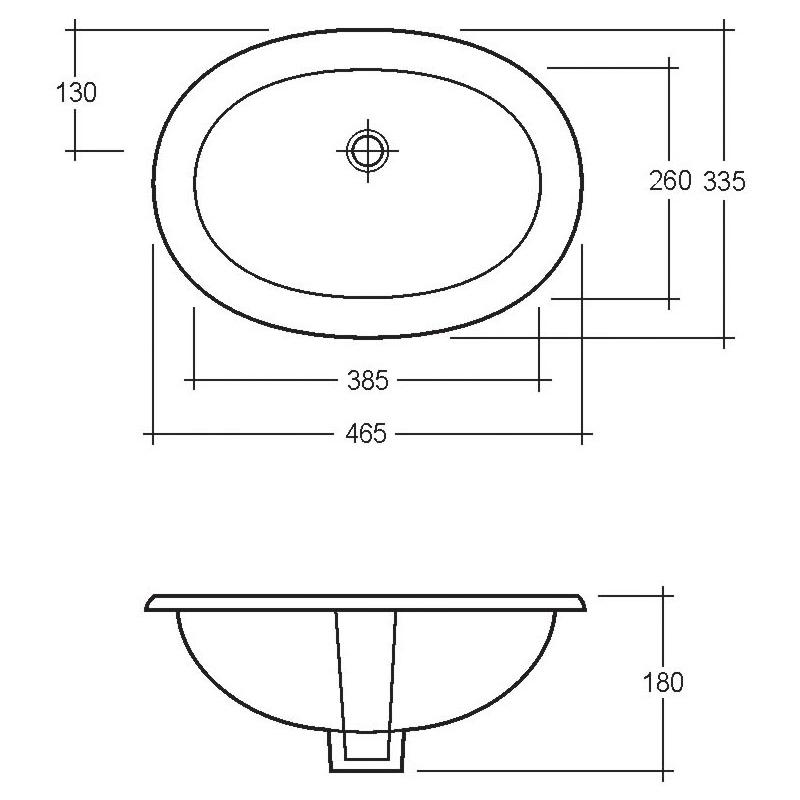 RAK Lily 465mm Under Counter Basin