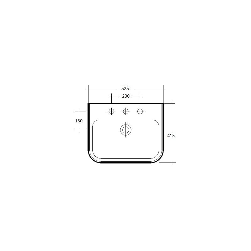 RAK Metro 520mm Basin 2 Tap Hole