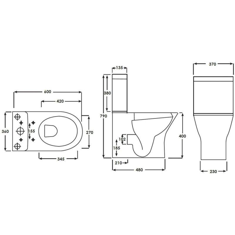 RAK Resort Mini Flush to Wall Toilet with Soft Close Seat