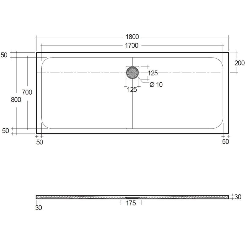 RAK Feeling 1800x800mm Shower Tray Black