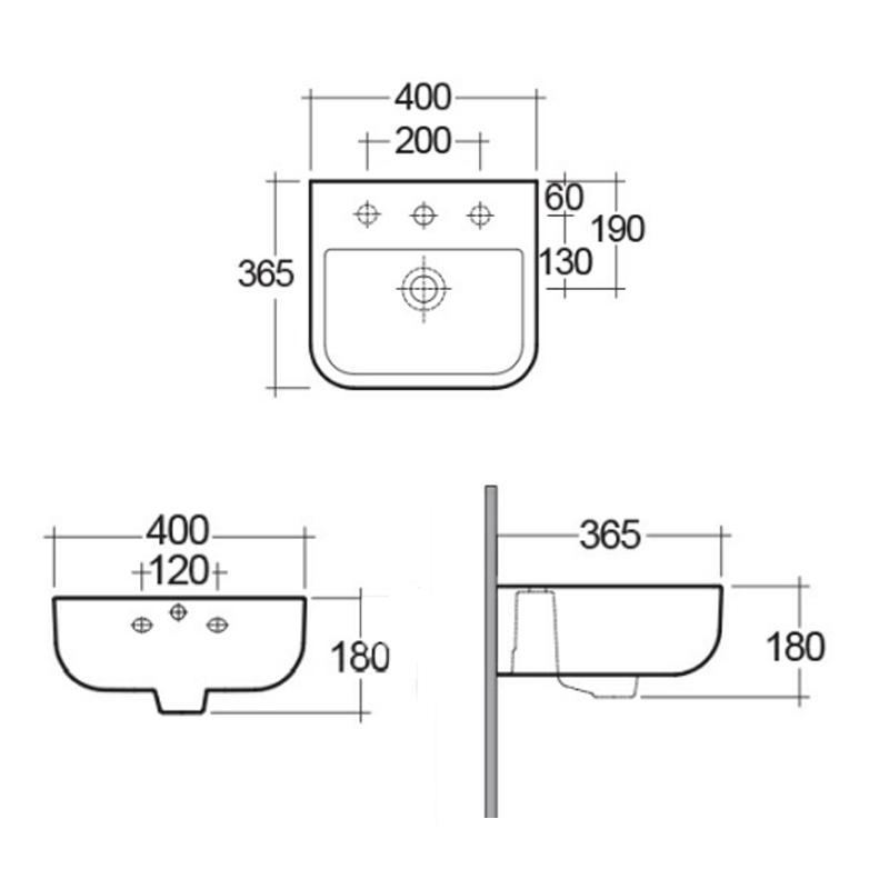 RAK Series 600 40cm Wall Hung Hand Basin 1 Taphole