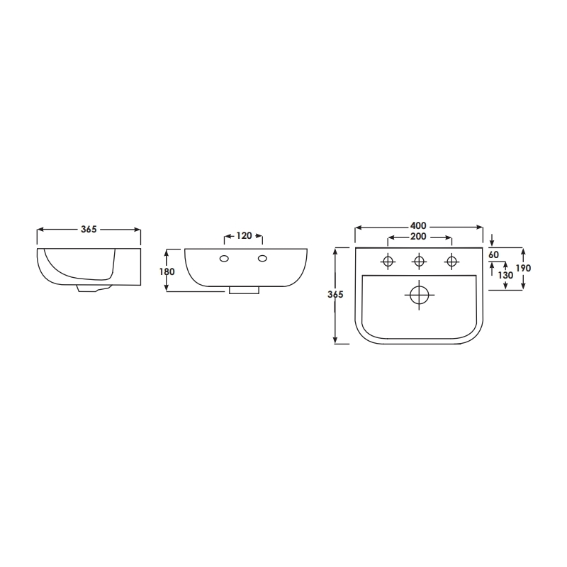 RAK Series 600 40cm Wall Hung Hand Basin 2 Tap Holes
