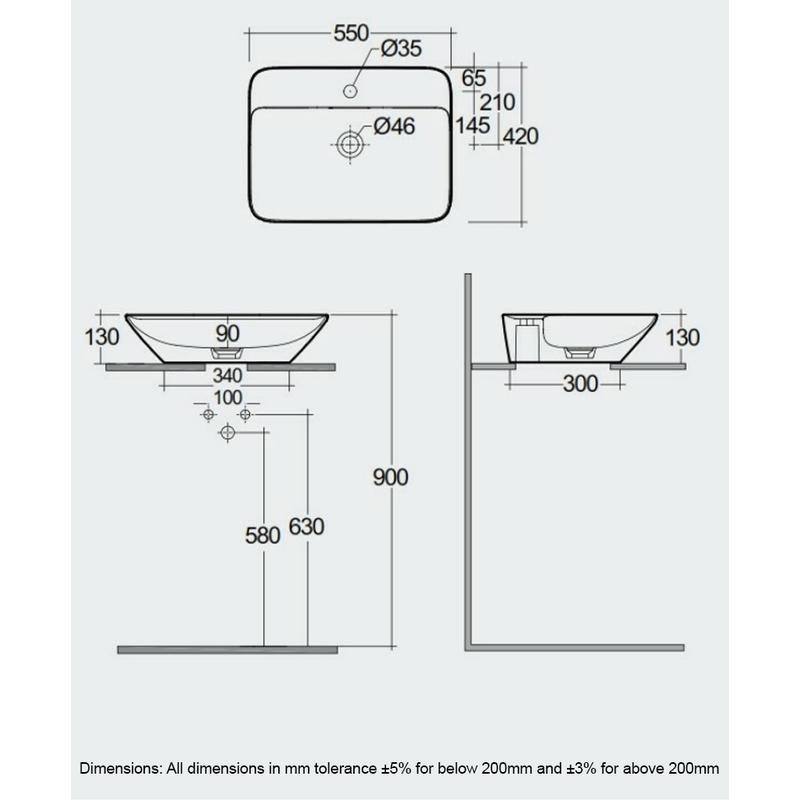 RAK Variant Rectangular Counter Top Basin 55cm 1 Tap Hole